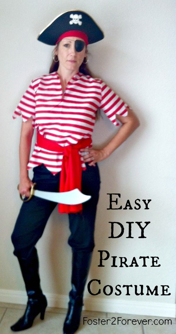 Here is a cute DIY homemade pirate costume idea for women. Happy Halloween! Great for Disney cruise.
