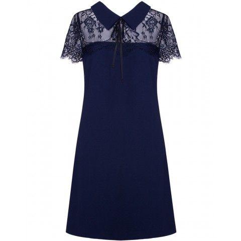 Vestido Feminino Social Tubinho com Renda Azul Marinho Seiki 380260