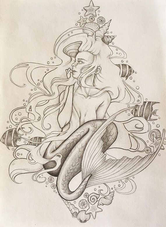Harmony Mermaid Mermaid Art Line Drawingstattoos Mermaid