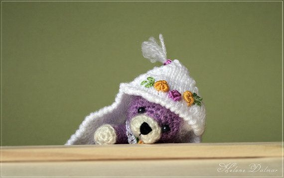 Artist Bear  Crochet Toy lilac Bear in a blanket  by AldanaBears, $37.90