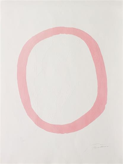 LUCIO FONTANA Nudo Rosa, 1967  Etching and aquatint in colors with embossing, on wove paper, the full sheet, I. 15 3/8 x 12 7/8 in (39 x 33 cm) S. 24 3/8 x 18 1/2 in (62 x 47 cm) Estimate $2,000 - 3,000