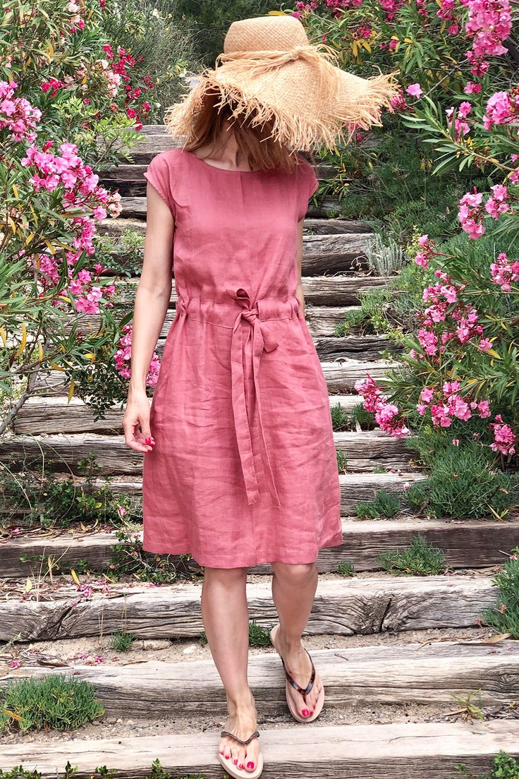 Rose Linen Dress