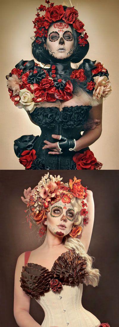dia de los muertos Day of the Dead Halloween face paint makeup costume flower headdress