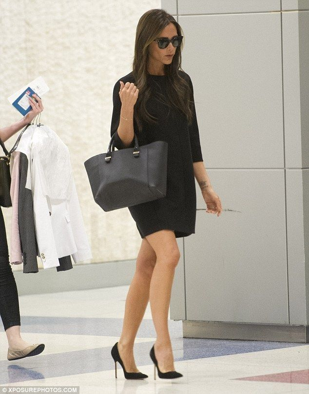 Chic Black Shift Dress and Long Hair Victoria Beckham
