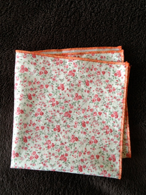 Vintage Pocket Square: Cream & Rose Floral Pattern w Orange border by MVOdesigns, $26.00