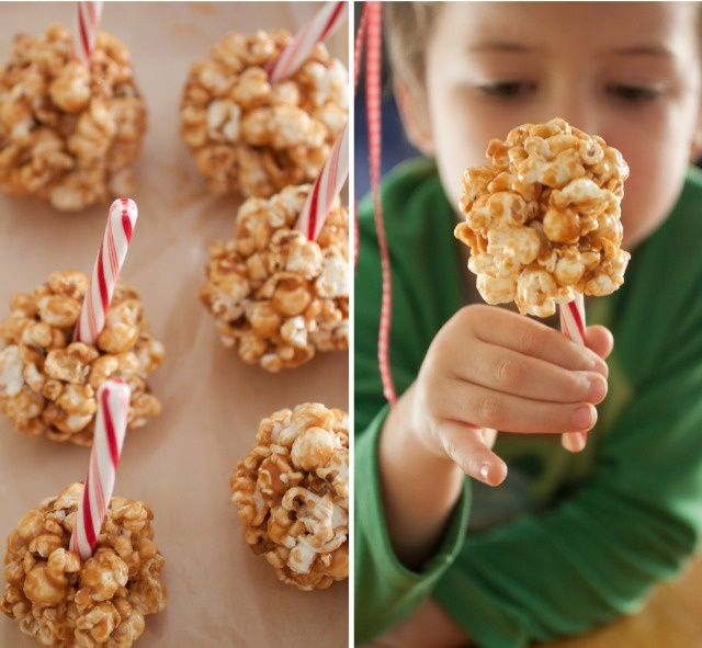 caramel popcorn balls with peppermint sticks