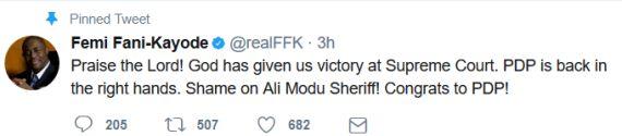 News: Shame on Ali Modu Sheriff Congrats to PDP - Femi Fani-Kayode