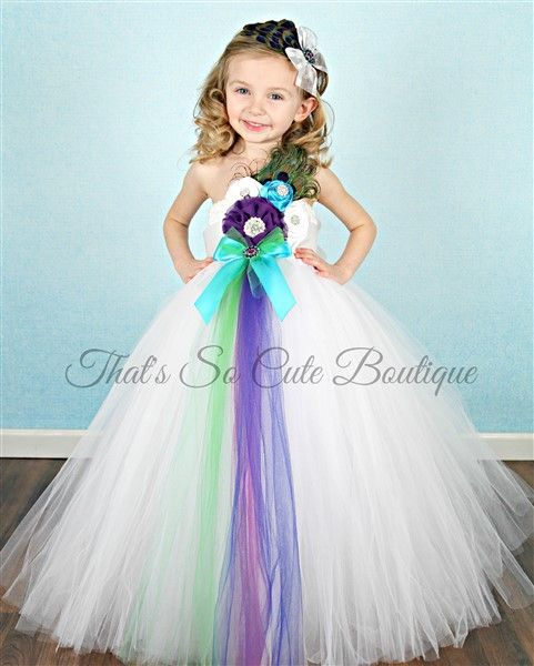 White Peacock Flower Girl Tutu Dress-tutu dress, tutu, wedding, flowergirl, flower girl, dress, girls, peacock, white, princess