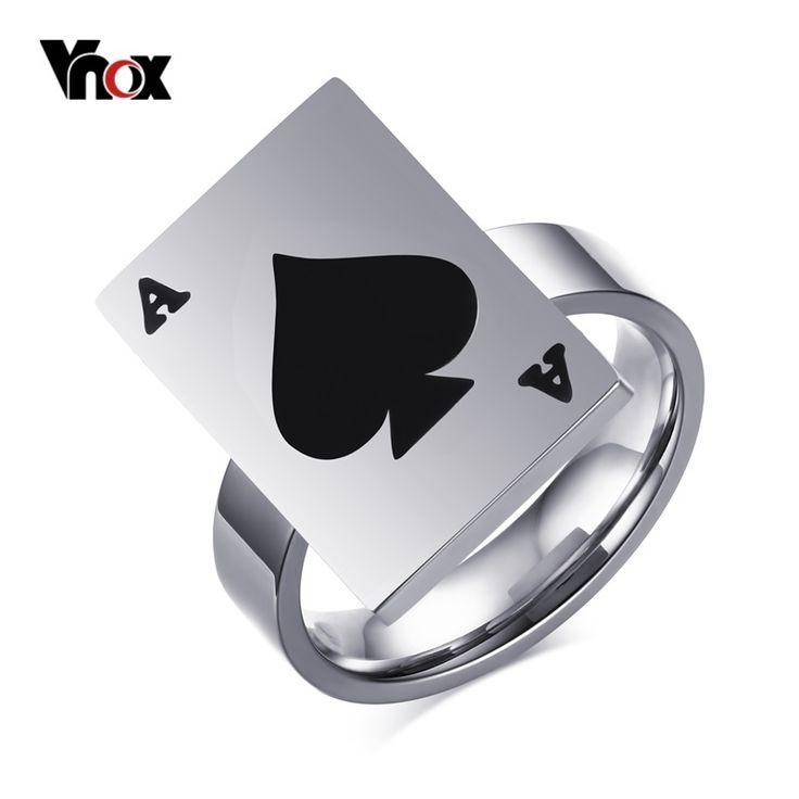 Vnox Newest Poker Rings Spade A Lucky Ring For Women Titanium Steel Black Enamel Punk Jewelry