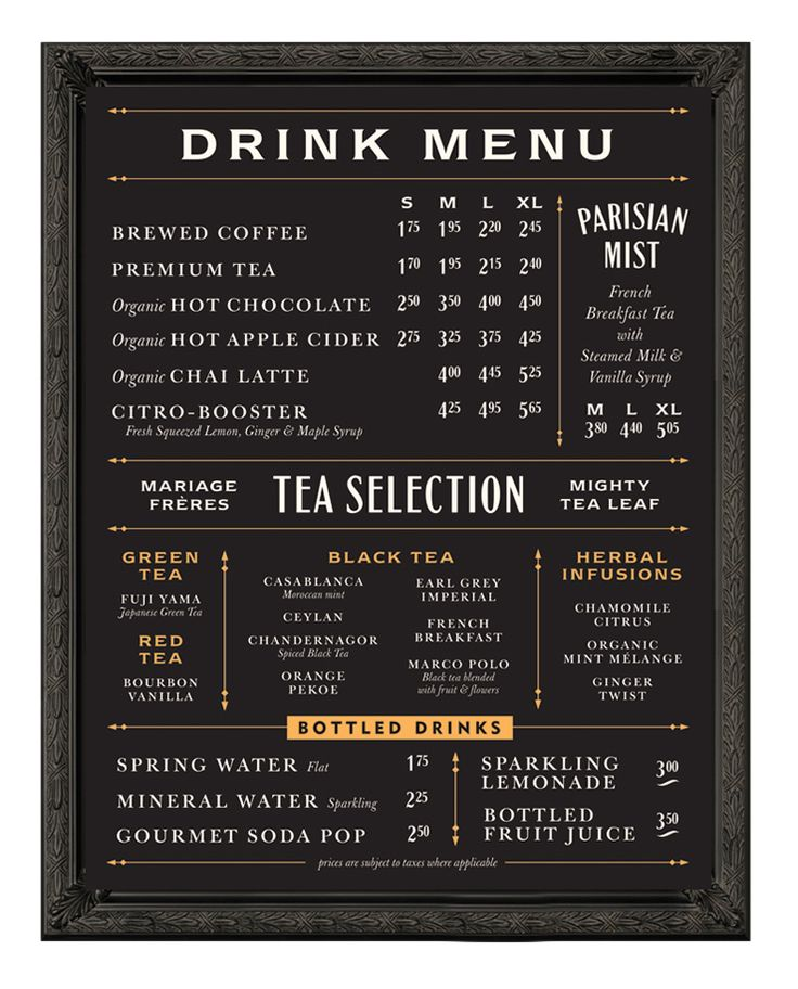 Balzacs menu board - Chad Roberts Design