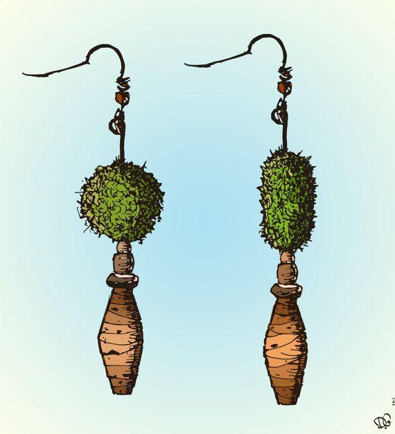 Ulkige Grüne Ohrringe Aus Seegras Und Kork Von Neptunball Auf Etsy