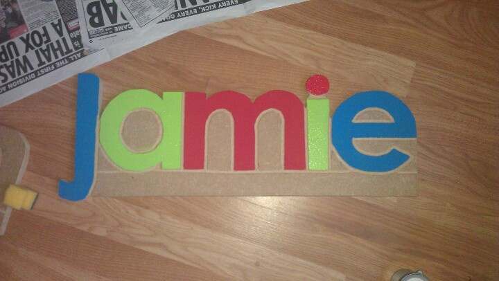 Wooden name plaque ¦ colourful