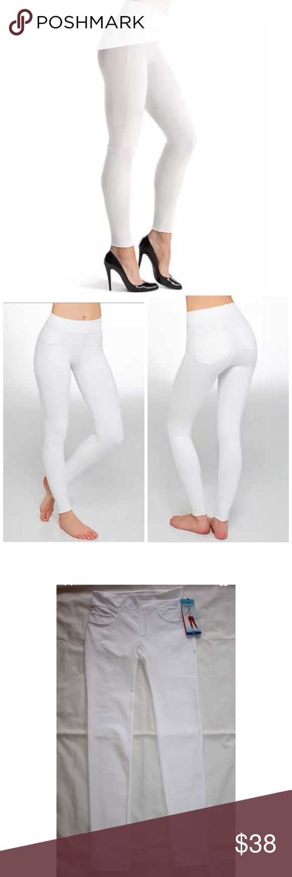SPANX ASSETS STRUCTURED LEGGINGS JEGGINGS ***PLEASE NOTE***because of colors there may be very faint minor dirt/dust marks from store handling that will wash right out! These jeggings combine the style of leggings and the power of shapewear. With a slimming panel built-in to the waistband, you'll feel amazing wearing these women's jeggings. Built-in invisible shaping 2-pocket & 2-faux pocket Faux zipper fly & pockets with contrast stitching Elastic waistband Body: cotton, polyester, spandex…