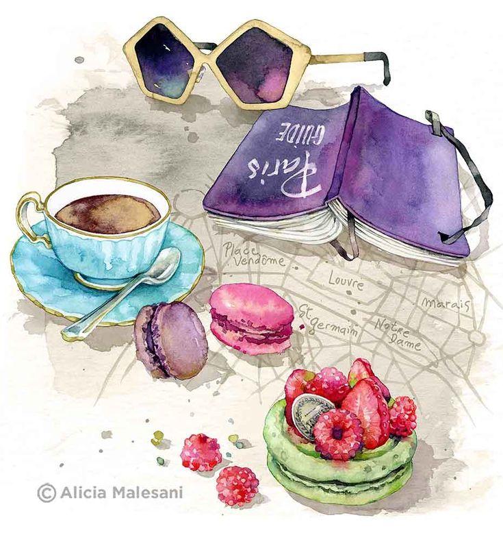 "Tea Time A4 Giclee Fine Art Print 8""x11.5"" by Alicia Malesani  on Etsy♥•♥•♥"
