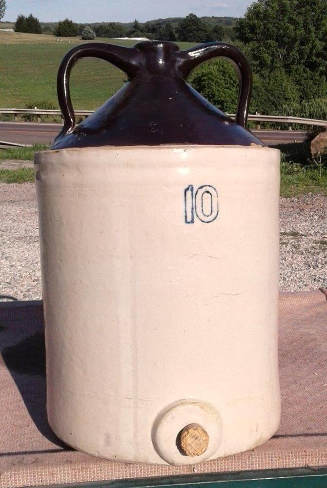 Antique 10 Gallon 2 Handled JUG Brown Top Stoneware Crockery ...