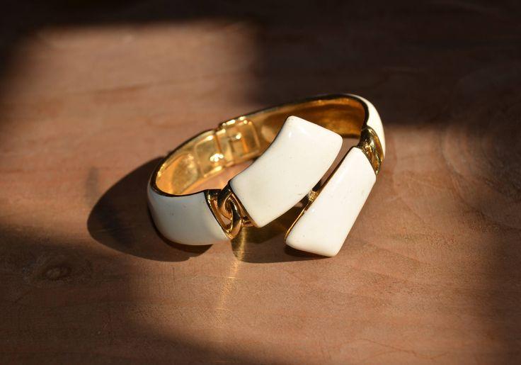 1970s TRIFARI Bracelet ~ Vintage Cream Enamel&Gold Tone ~ Wide Hinged Bangle Bracelet ~ 1960s 70s Signed Crown Trifari Jewelry by CatsAndHatsVintage on Etsy