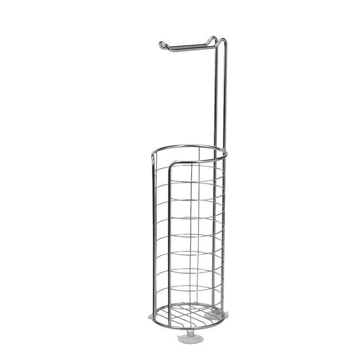 Praktisk 199:- toalettpappershållare som har hållare för den toalettrulle som används för tillfället och förvaringsplats för ett antal ytterligare toalettpappersrullar. Hållaren är tillverkad av rostfritt stål.