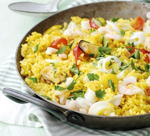 Spanish seafood rice - do with wild rice