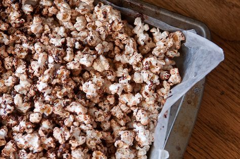 Chocolate Covered Bacon Fat Popcorn with Sea Salt from @ErinsFoodFiles