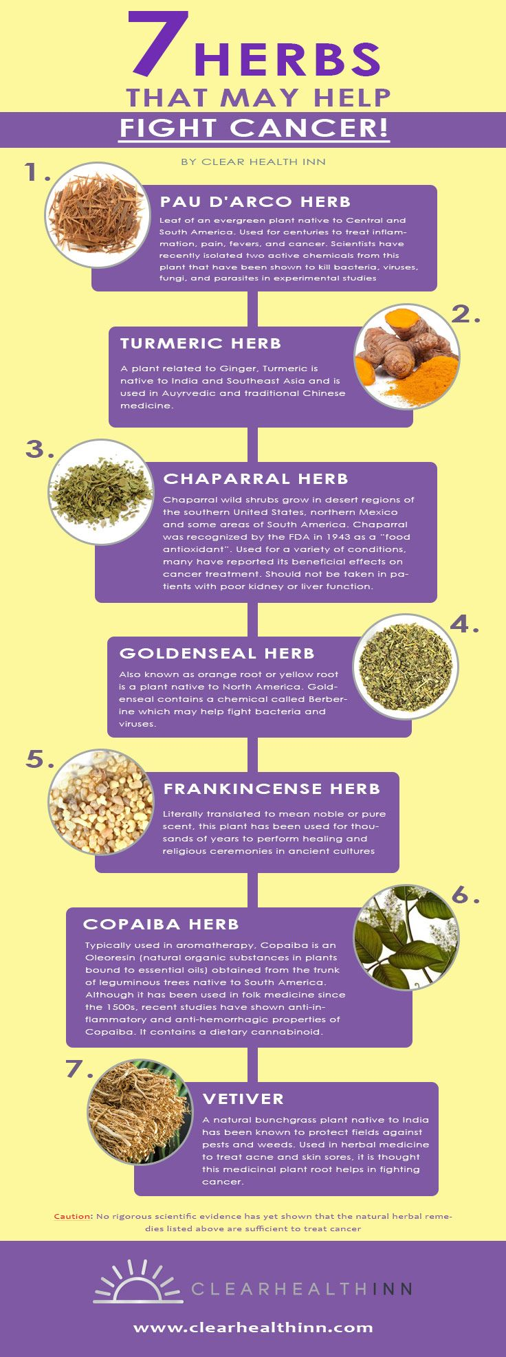 Clear Health Inn's 7 Herbs That May Help Fight Cancer. Herbal medicine is a very common choice as a complementary therapy for those who suffer with cancer. In reality, modern medicines in use today use components that originally hail from naturally occurring herbs. There is some evidence that herbal products can help to prevent or relieve some symptoms of cancer and the side effects of treatment. #FightCancer #Cancer #HerbalMedicine #AlternativeCancer #ClearHealthInn #Canada