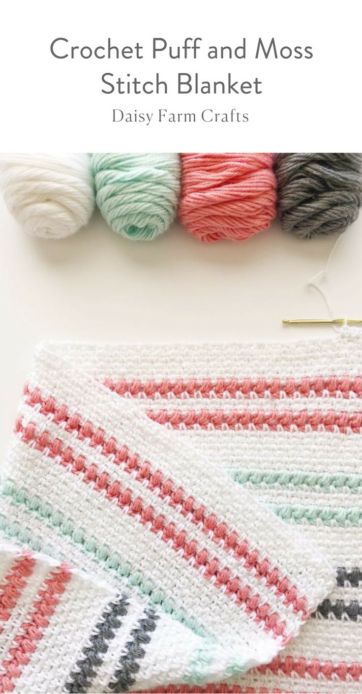 Free Pattern - Crochet Puff and Moss Stitch Blanket