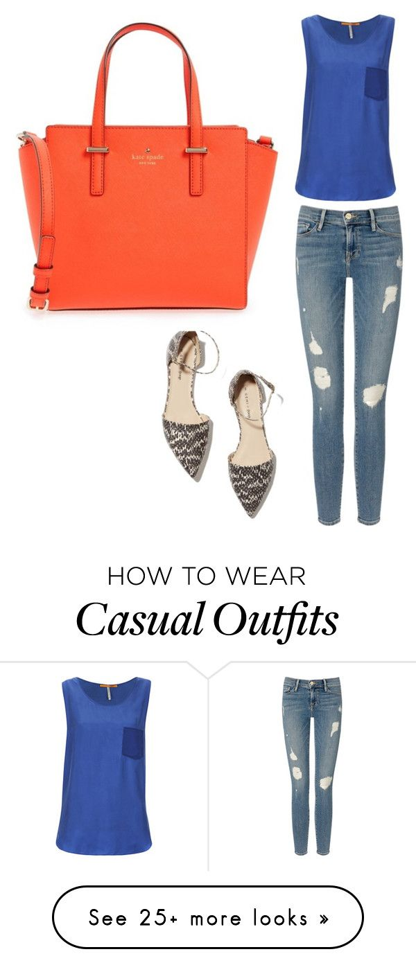 """Casual"" by harpandlock on Polyvore featuring M. Gemi, Frame Denim, BOSS Orange and Kate Spade"
