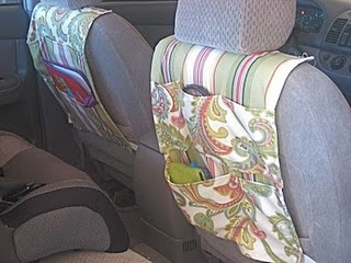 These are a lot more cute than my store bought one. Car Organizers using this tutorial: http://sew4home.com/projects/storage-solutions/761-cool-car-caddy-straps-on-to-headrest
