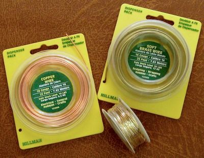 Buy small packages of 16 & 18 Gauge Brass & Copper Wire inexpensively at Lowe's picture-hanging dept! #Stash #Wire