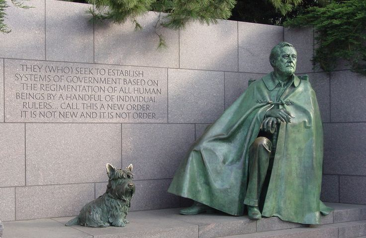 In the FDR Memorial in Washington, D.C., Fala is immortalized next to the President. He is the only pet ever to be represented in a presidential memorial.