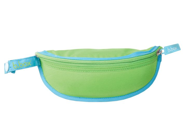 simply pop the spoon inside, fold bib back inside catcher, zip and go