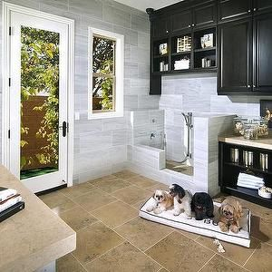Standard Pacific Homes - laundry rooms - dog mudroom, dog friendly mudroom, mudroom for dogs, dog shower, dog shower ideas, dog shower ideas, black cabinets, black mudroom cabinets, cream countertops, gray stone backsplash, mudroom cubbies, dog room, dog room ideas,