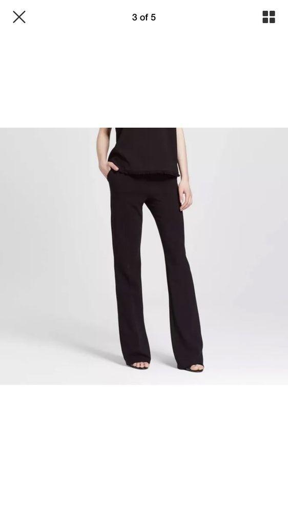 Nwt Victoria Beckham Target Black Twill Dress Pants Flared Trouser
