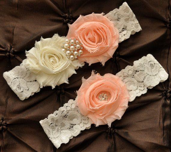 Wedding Garter, Bridal Garter Set - Ivory Lace Garter, Keepsake Garter, Toss Garter, Shabby Chiffon Rosette Light Peach Ivory Wedding Garter