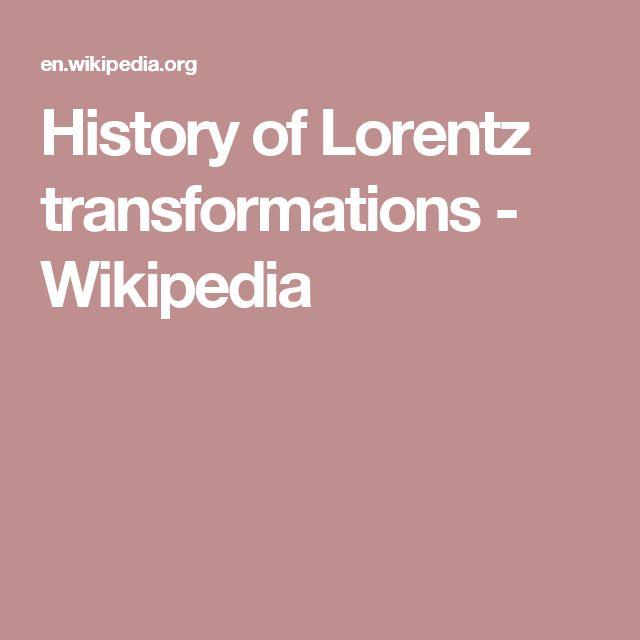 History of Lorentz transformations - Wikipedia