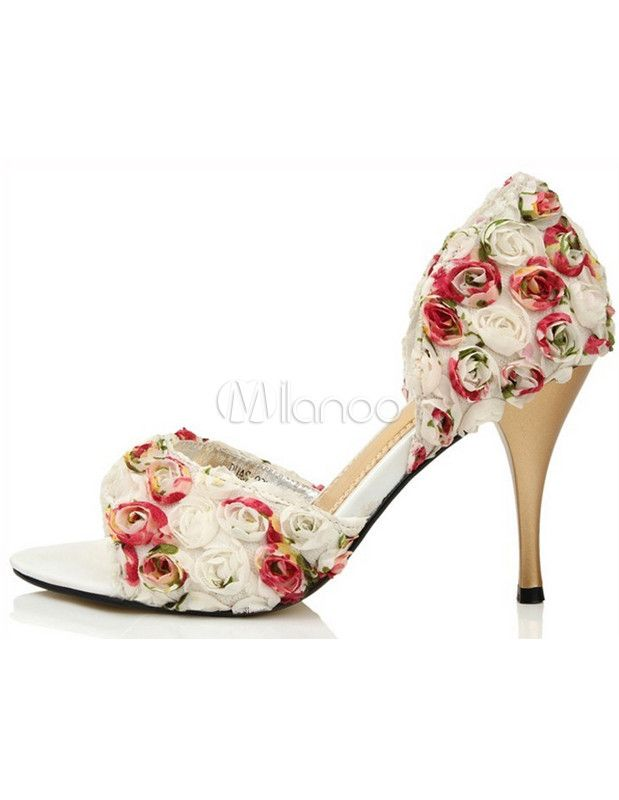 Formal Red Cut Out Antique Design Peep Toe Silk And Satin Fashion Bridal Shoes - Milanoo.com