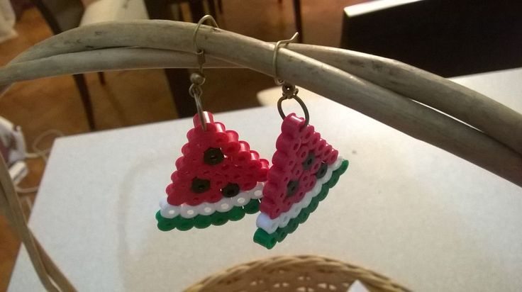 Watermelon Perler Bead Earrings via Makery. Click on the image to see more!