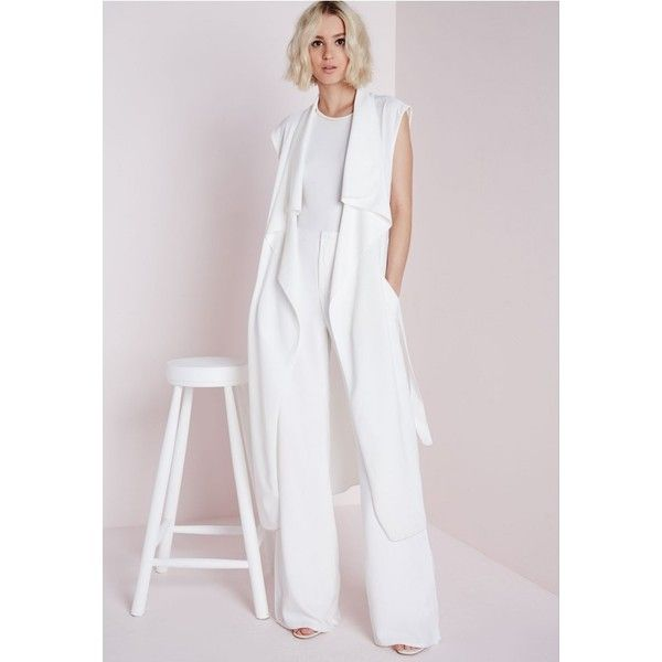 Sleeveless Belted Waterfall Duster Coat White ❤ liked on Polyvore featuring outerwear, coats, white coat, sleeveless belted coat, white duster coat, sleeveless duster coat and sleeveless coats