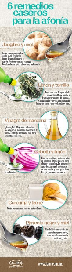 6 remedios caseros para la afonía. #infografia #salud