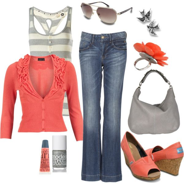 Coral and Gray., created by pamnken: Colors Combos, Toms Wedges, Fashion, Coral, Style, Clothing, Toms Shoes, Casual Outfits, Spring Outfits