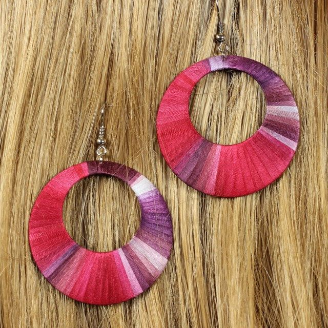 Unique handcrafted pink and purple silk earrings by intuitashop on Etsy