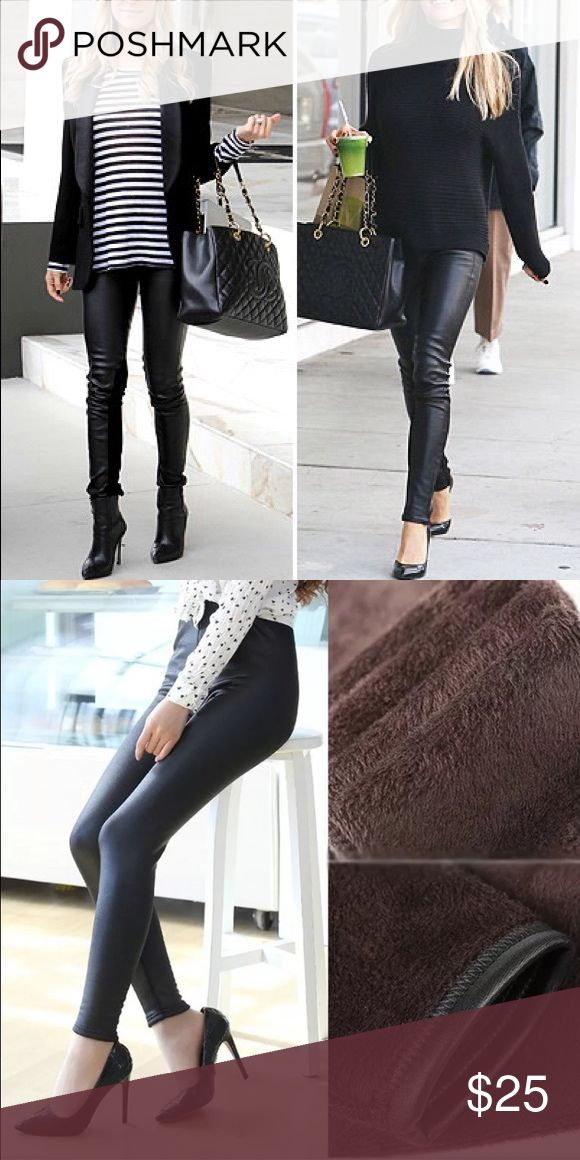 Black high waisted leather legging Black high waisted leather legging. Fits true to size. Inside is warm soft fuzzy material, makes you warm. Elastic waist band. Fits size 0-2. Not topshop Topshop Pants Leggings