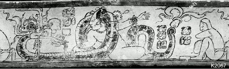 vase K2067 -  the Old God appearing from a Vision Serpent before the Moon Goddess