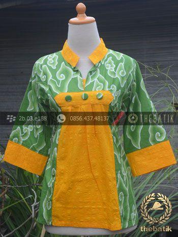 Model Baju Batik Kerja Wanita Hijau Kuning | Indonesian Unique Batik Tops Clothing for Women - Men http://thebatik.co.id/baju-batik/