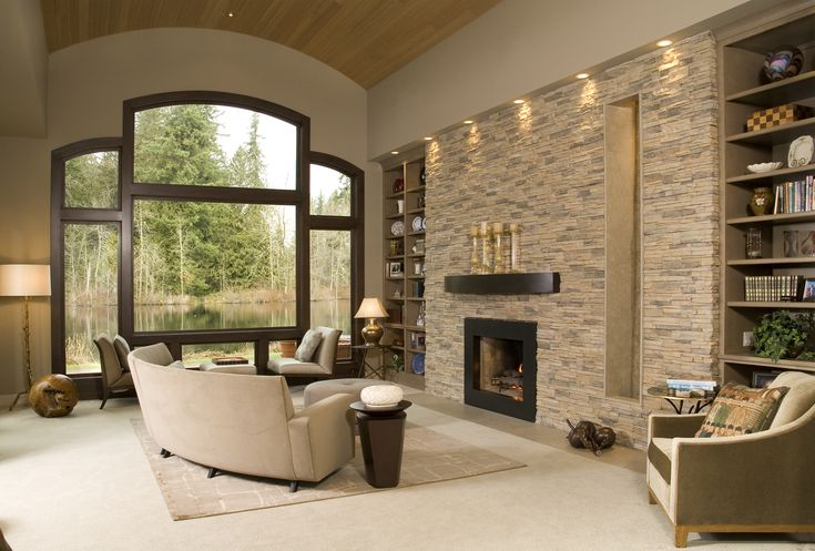 Eldorado stone accent wall alderwood stacked stone for Living room stone wall designs