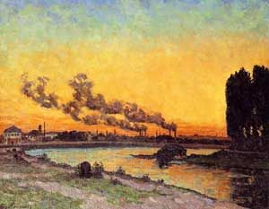 This photo is called the Sunset at Ivry. This photo includes both nature and industry. The setting sun colors the broad sky giving full play to light effects. There are also factory smokestacks that billow out into the atmosphere that add to the visual sensation. This photo is in the Musee d'Orsay.