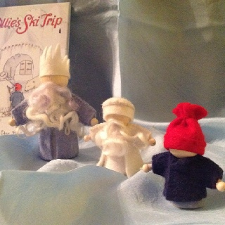 Elsa Beskow Characters come alive. King winter, jack frost and Ollie. Winter gift giving.