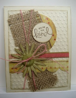 LOVE this card.  Never thought of putting burlap on a card.