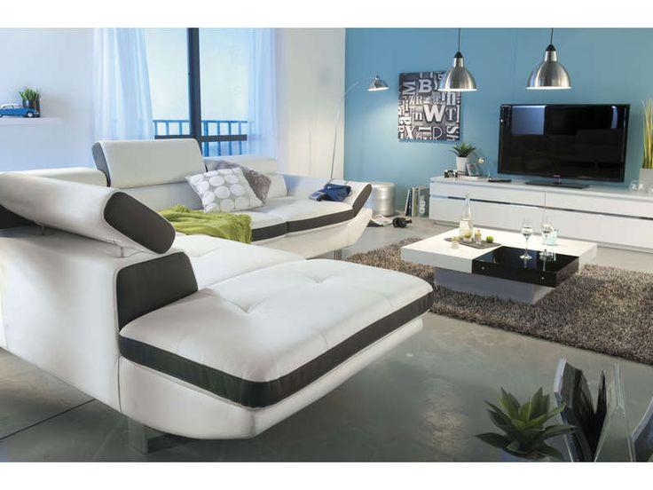 Canapé angle fixe gauche 5 places LOFT coloris blanc/anthracite - pas cher ? C'est sur Conforama.fr - large choix, prix discount et des offres exclusives Canapé d'angle sur Conforama.fr