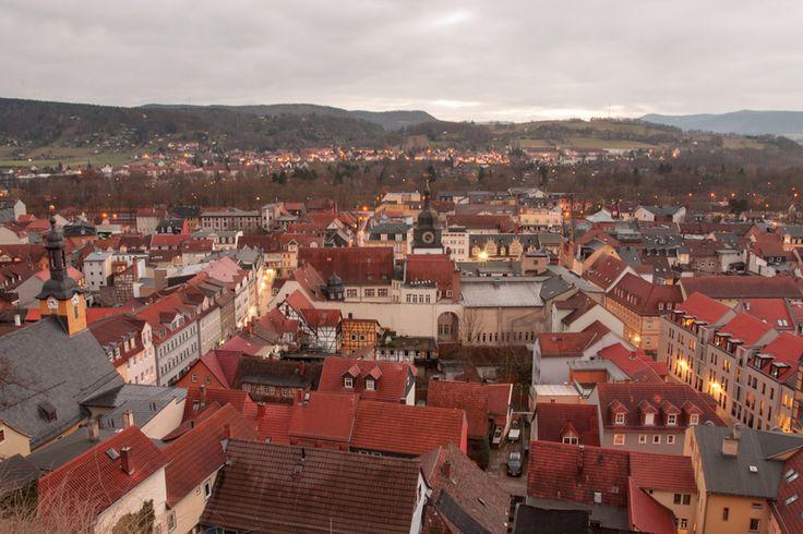 Rudolstadt Blick von der Heidecksburg auf die Altstadt.