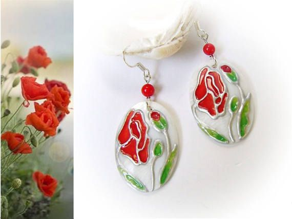 Red Poppy Hand-painted Pearl  Earring, Floral jewerly, Coral gem stone